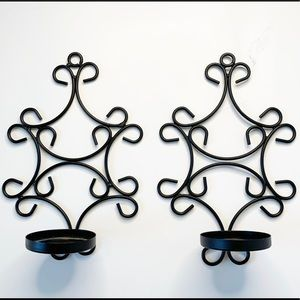 Black wall candle holder